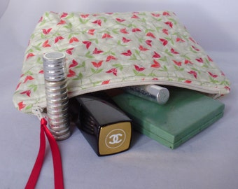 Handmade Quilted Zipper Pouch Cosmetic Bag
