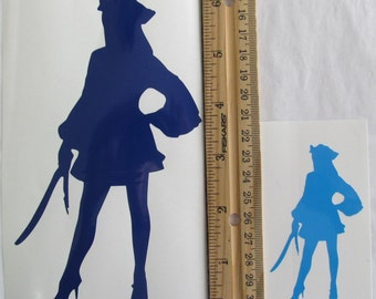 Vinyl Gamer RPG Car Window Decal Sticker Female Pirate with Sword Silhouette Role Playing Game Gaming D&D Dungeons Dragons