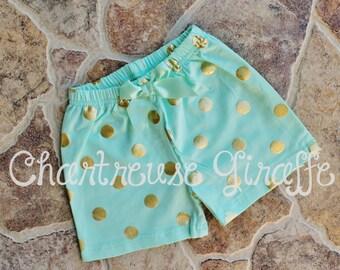 Girls Mint and Gold polka dot Shorts