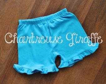 Turquoise Girls Ruffle Shorts