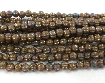 100 Pieces, 3mm Melon Beads, Oxidized Bronze Clay