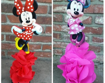 Traditional Red Minnie Mouse Wood Centerpiece Birthday Party Great for Candy Buffet Food Court Table Gift Hot Pink Minnie Mouse