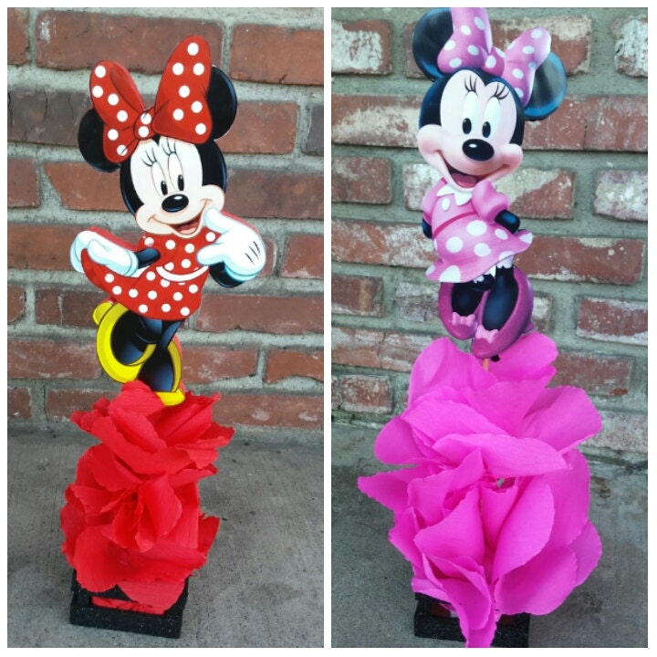 Traditional red minnie mouse wood centerpiece birthday party