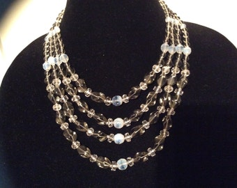 Vintage necklace four strand glass beaded necklace multi strand jewelry beads grey clear