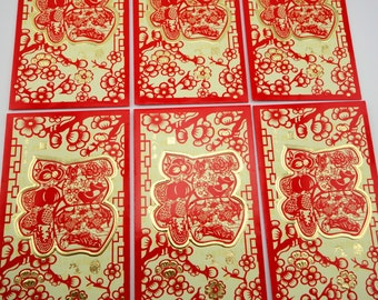 6 pack goldfish & fruits lucky money envelope - traditional papper cutting folk art lai see - hong bao packet - cherry and plum blossoms