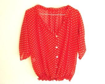 Vintage Red Dotted Shirt - Woman's Retro Shirt - White Polka Dots Shirt - Pin Up Shirt