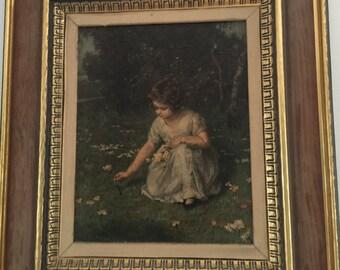 Beautiful vintage framed print, printed art, framed art