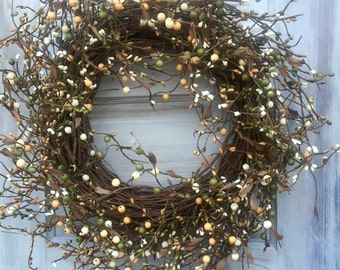 Summer Wreath with Green, Cream and Light Orange berries, Holiday Wreath, Fall Wreath, Rustic Wreath, Country Wreath Primitive Wreath