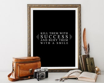 Success wall print / 8 x 10 wall print / work motivation / motivational quote poster / instant download/office print/fitness quote/work hard