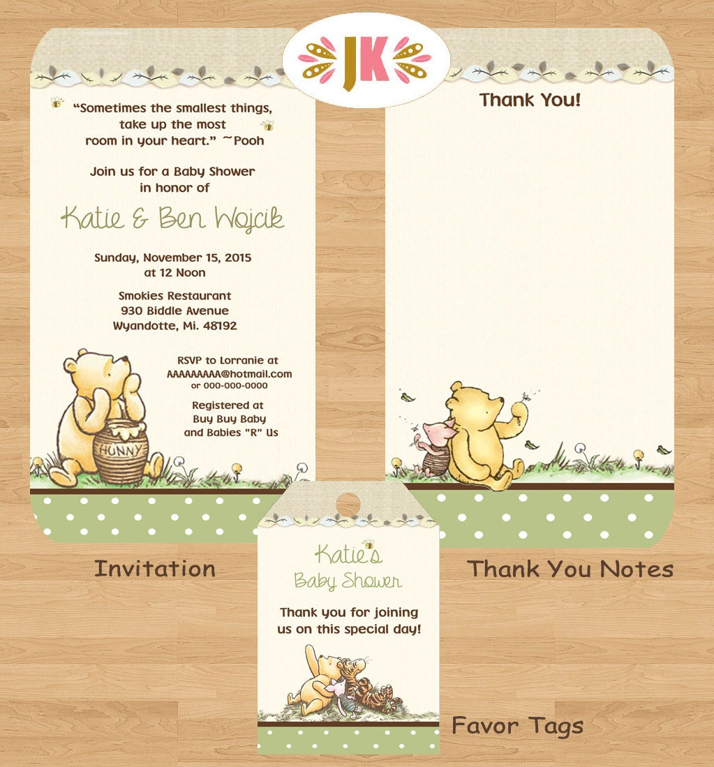 classic winnie the pooh baby shower printed by jukadesignz