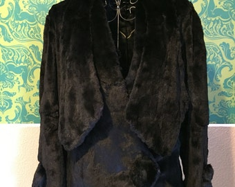 Vintage Edwardian Jacket -- 1910s Black Fur Coat - M