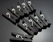 Black Mini Pegs Mini Black Wood Clothes Pegs. - For Craft, Events, Bonboniere Bags - Wooden Clothespins
