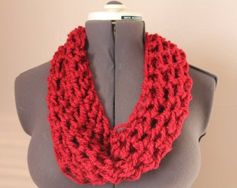 Red Crochet Cowl Scarf