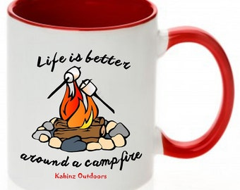 Camping Mug, Camping Coffee Mugs, Coffee Mugs, Campfire Mugs, Red Coffee Mugs, Red Camping Campfire Mug, Red Camping Mug, Red Camp Mug