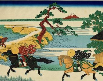 "Japanese Ukiyo-e Woodblock print, Katsushika Hokusai, ""Barrier Town on the Sumida River, from the series Thirty-six Views of Mount Fuji"""