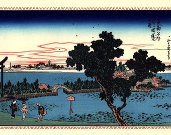 "Japanese Ukiyoe, Woodblock print, antique, Hiroshige, ""Lotus Pond at Shinobugaoka"""