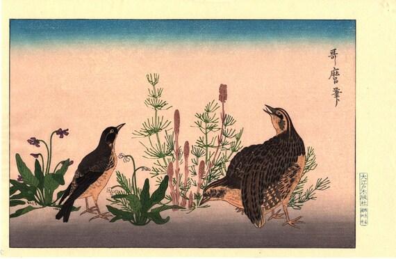 """Japanese Ukiyo-e Woodblock print, Utamaro, """"Quail  and Skylark"""""""