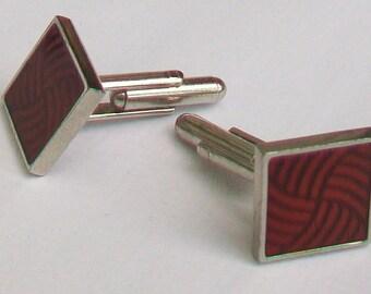 Red & Black Twist Silver Tone Cufflinks