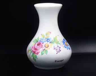 """Tintagel Pottery 4.5"""" Vase Devon, Floral Baluster Specimen Vase"""