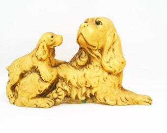 Carved Polished Stone Alabaster Spaniel Dog Figurine with Puppy
