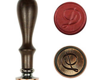 Letter D Alphabet Vintage Retro Wax Seal Stamp Rosewood Handle Copper Head Initial Stamp