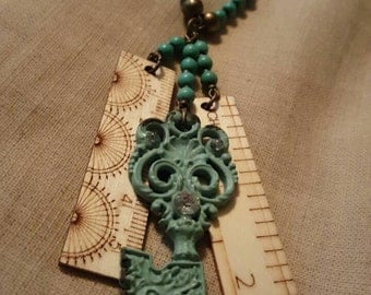 Turquoise key and ruler necklace
