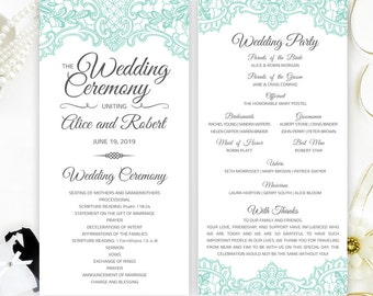 Mint Green Lace Wedding Programs Printed On Shimmer Paper