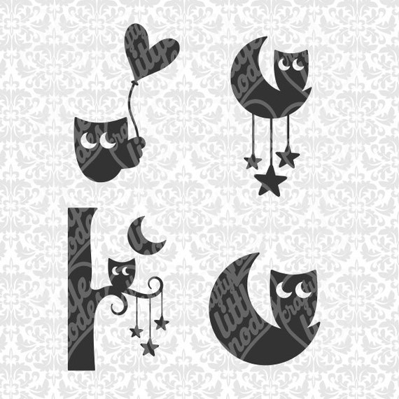 Cute Sleepy Owl on the moon / heart balloon / stars SVG STUDIO Ai EPS vector instant download commercial use cutting file cricut silhouette