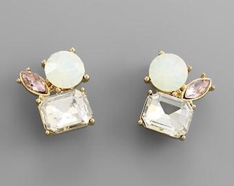 Opal, Clear & Rose Crystal Cluster Stud Earrings