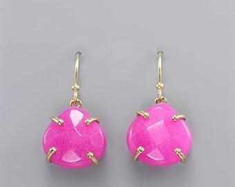 Fuchsia Gemstone Water Drop Earrings