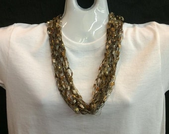 Brown crocheted ribbon necklace #76
