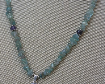 Apatite, Amethyst and Sterling Silver Necklace