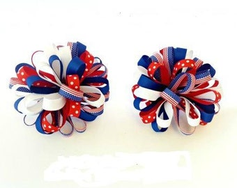 Patriotic/Fourth of July loopy bow