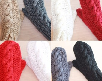 Women's cable knit mittens (in 8 colors)