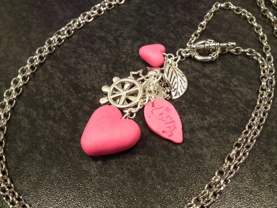 Charming pink and silver Y Necklace