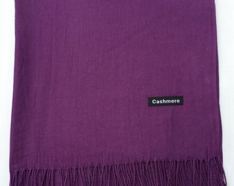 Ladies Super Soft Cashmere Luxury Feel Scarf/Shawl For Day To Evening Occasions (Purple)