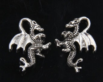 50 Silver Tone Winged Dragon Charm Pendants 21x14mm