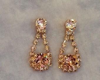 Vintage Rose Swarovski Crystal Bridal Earrings, bridesmaid earrings, wedding earrings, blush wedding, blush earrings, crystal earrings