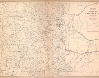 42x63 Poster; Drainage Map Of Colorado 1877