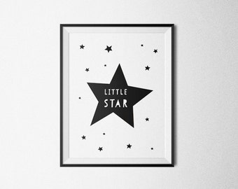 Little Star, Nursery Rhyme Print Kids, Baby Room Wall Art, Monochrome Kids Art, Affiche Print, Twinkle Star, Kids Room Printable