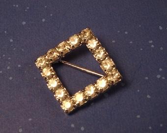 Square Rhinestone Brooch / Pin