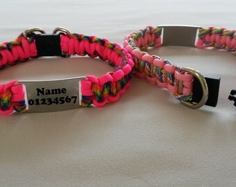 Safety breakaway dog collar, Paracord 550, choose your own colours, optional engraved name tag