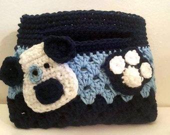 Crochet Puppy Dog, Dog Purse, Crochet Clutch Purse, Crochet Handbag, Blue Puppy Dog, Blue Dog Purse, Dog Handbag, Crochet Clutch, Dog Bag