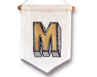 Letter Banner Pennant. Custom Monogram wall hanging, Personalise alphabet flag, initial, Type Wall art, tapestry, Baby gift, new home gift