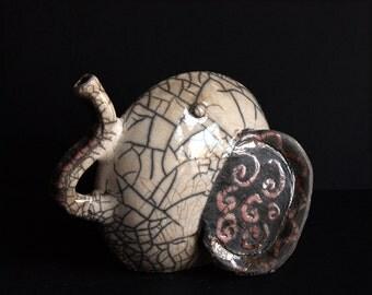 Crackle Raku ceramic elephant