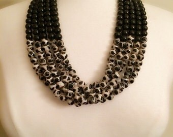Multi-Strand Bead Necklace - Black & Black/Beige Beads