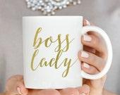 Gold Boss Lady Coffee Mug, Coffee Mugs, Boss Lady, Gift For Boss, Inspirational Coffee Mug, Coffee Cup, Coffee Mug Gift, Girl Boss Mug, Mugs