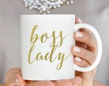 Gold Boss Lady Coffee Mug, Coffee Mugs, Boss Lady, Gift For Boss, Inspirational Coffee Mug, Gold Mug, Gift for Boss, Girl Boss Coffee Mug