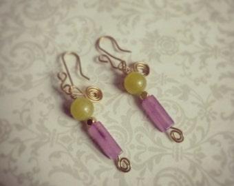 Petite earrings with peridot and lavender quartz
