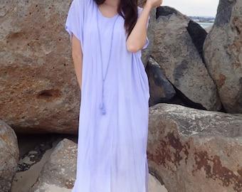Lavender Dress with Straight Trim